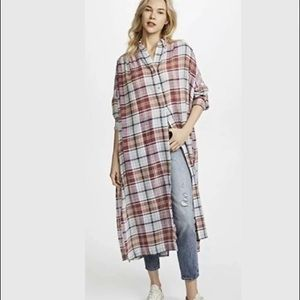 Free People Plaid Tunic Duster